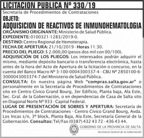 Licitación: Licitacion Publica 330  SGG MSP