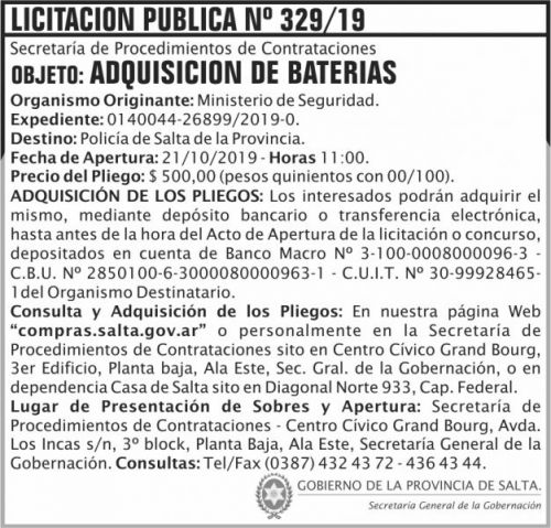Licitación: Licitacion Publica 329 SGG MS