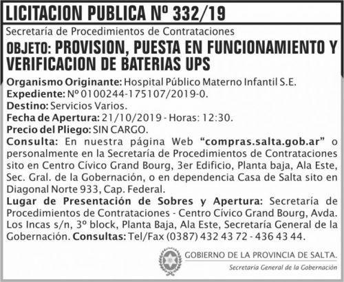 Licitación: Licitacion Publica 332 SGG HPMI