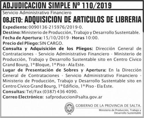 Licitación: Adjudicacion Simple 110 MPTDS