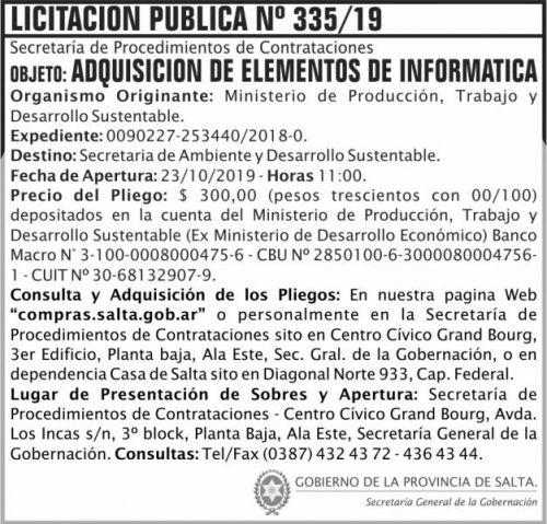Licitación: Licitacion Publica 335 SGG MPTDS