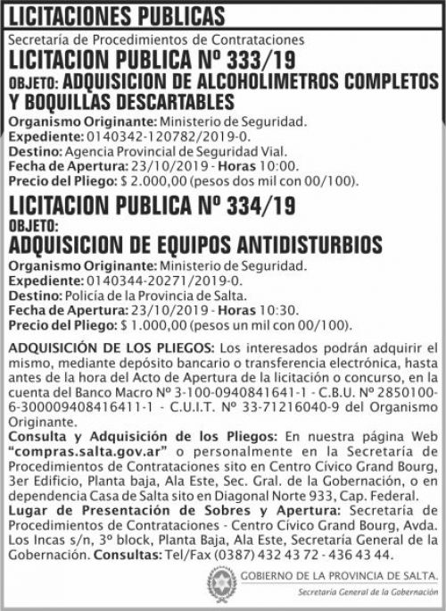 Licitación: Licitacion Publica 333 y 334 SGG MS