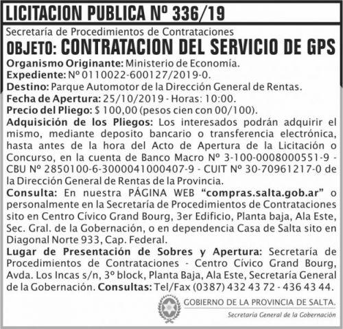 Licitación: Licitacion Publica 336 SGG ME DGR