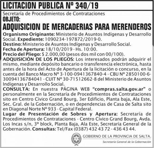 Licitación: Licitacion Publica 340 SGG MAIDS