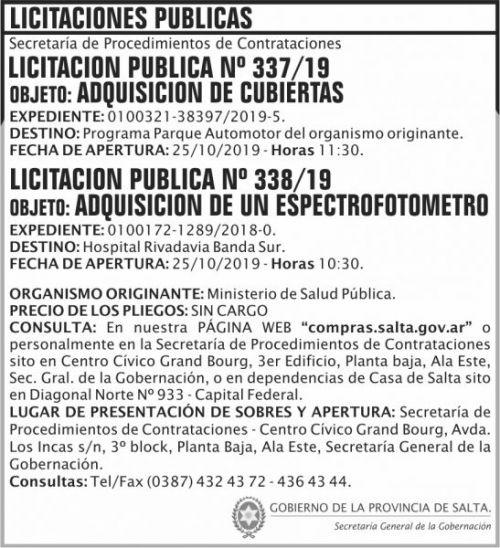 Licitación: Licitacion Publica 337 338 SGG MSP