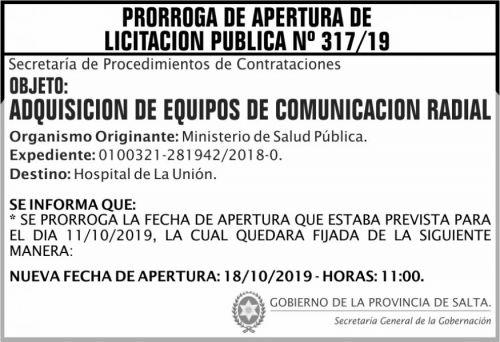 Licitación: PRORROGA Licitacion Publica 317 SGG MCTD