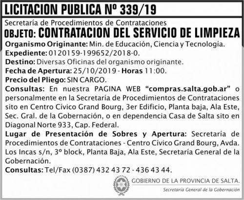 Licitación: Licitacion Publica 339 SGG MECT