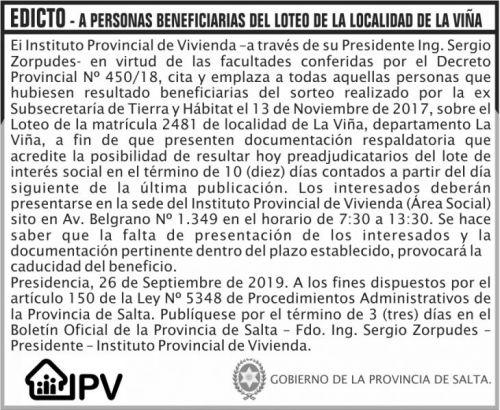Licitación: EDICTO LOTEO DE LA LOCALIDAD DE LA VIÑA IPV
