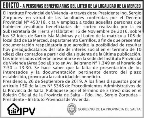 Licitación: EDICTO LOTEO DE LA LOCALIDAD DE LA MERCED IPV