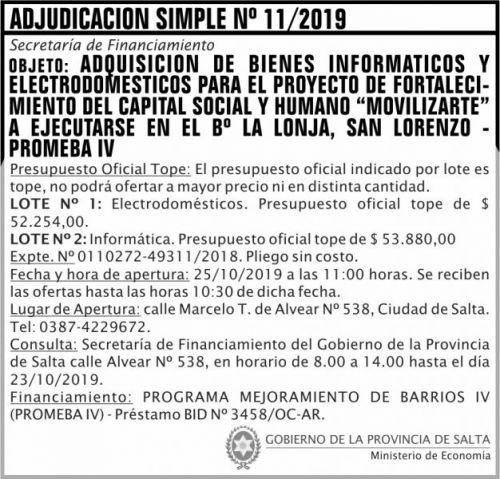 Licitación: Adjudicación Simple Nº 11 ME SF