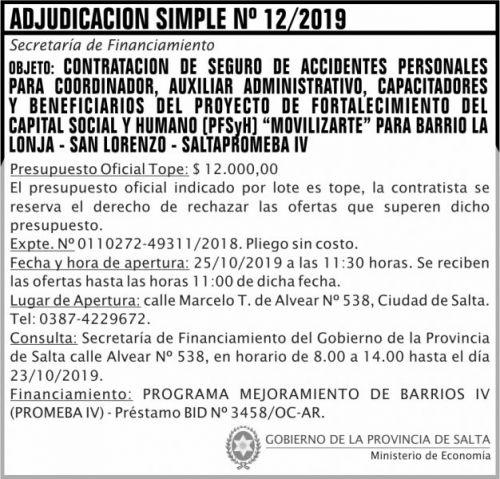 Licitación: Adjudicación Simple Nº 12 ME SF