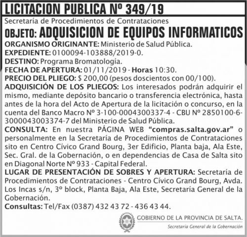 Licitación: Licitacion Publica 349 SGG MSP