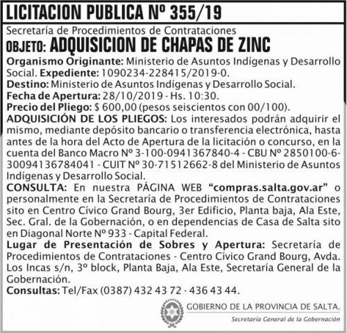 Licitación: Licitacion Publica 355 SGG MAIDS