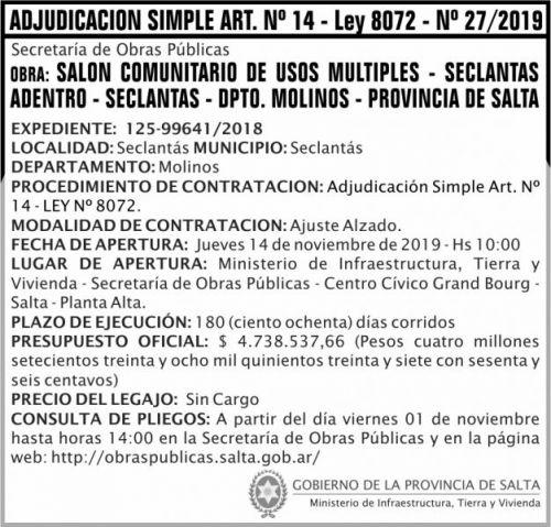 Licitación: Adjudicación Simple Nº 27 ART 14 MITV