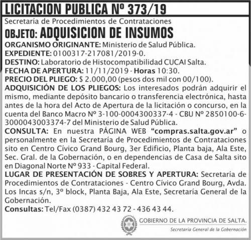 Licitación: Licitacion Publica 373