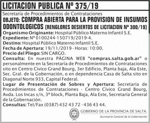 Licitación: Licitacion Publica 375 SGG HPMI