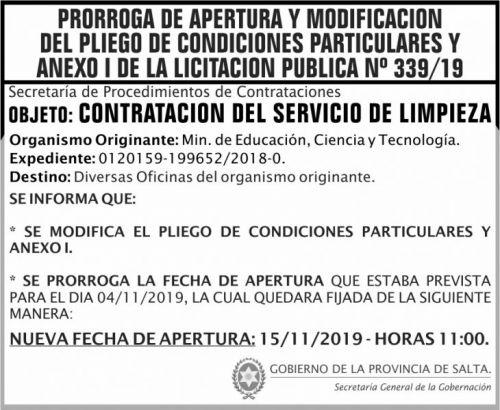 Licitación: PRORROGA y MODIFICACION Licitacion  Publica 339 SGG MSP