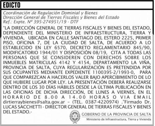 Licitación: EDICTO Matriculas  4142 4154 MITV