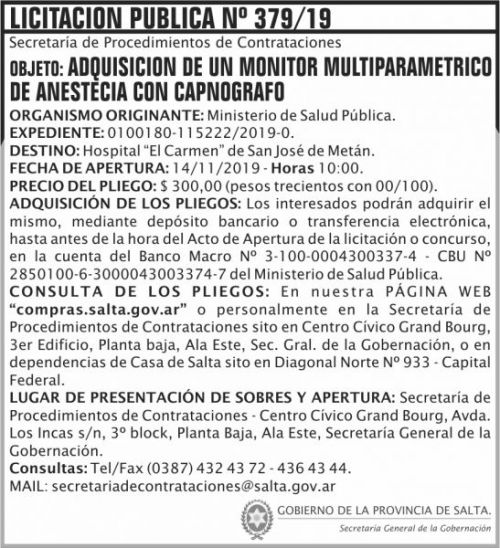 Licitación: Licitacion Publica 379 SGG MSP