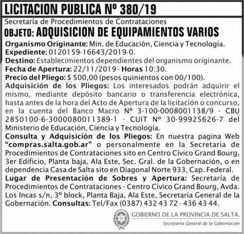 Licitación: Licitacion Publica 380 SGG MECT