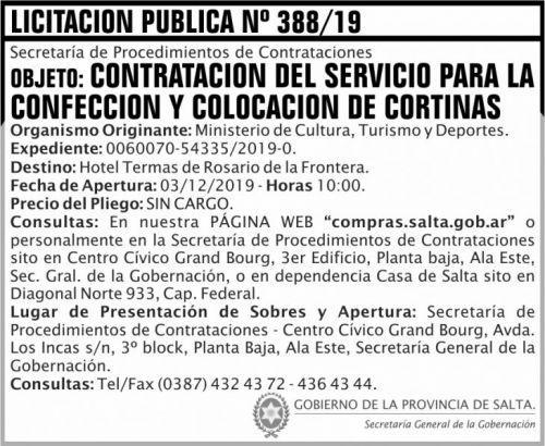 Licitación: Licitación Publica 388 SGG MCTD