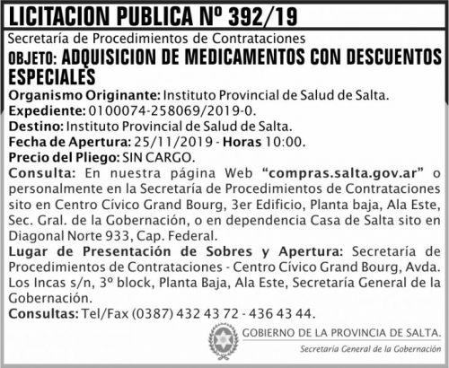 Licitación: Licitación Publica 392 SGG IPS