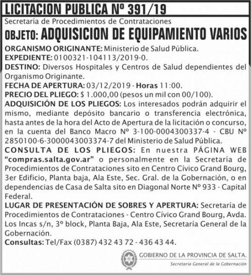 Licitación: Licitación Publica 391 SGG MSP