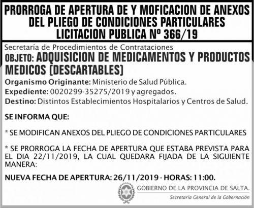 Licitación: PRORROGA Licitación Publica 366 SGG MCTD