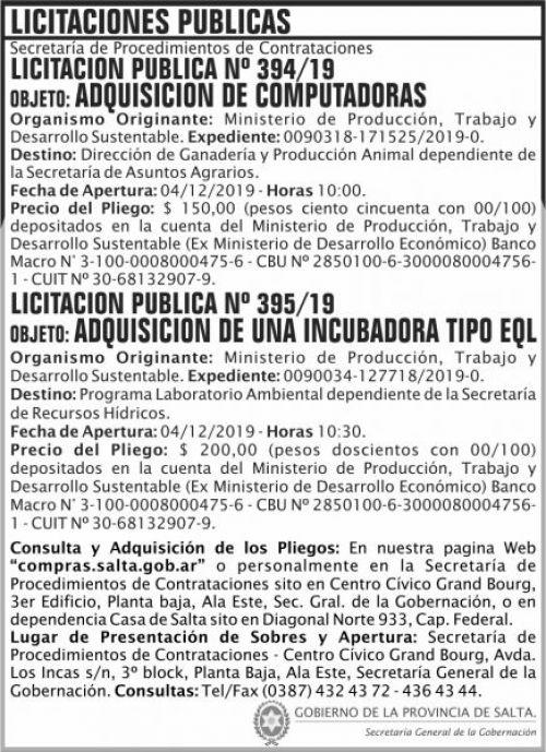 Licitación: Licitaciones Publicas 394 y 395 SGG MPTDS
