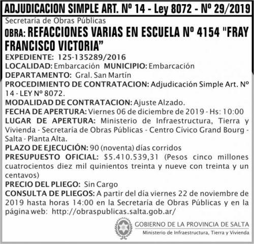 Licitación: Adjudicación Simple Nº 29 ART 14 MITV