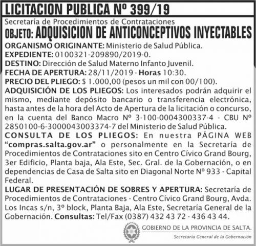 Licitación: Licitacion Publica 399 SGG MSP