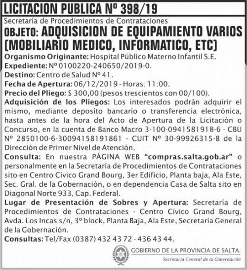 Licitación: Licitacion Publica 398 SGG HPMI