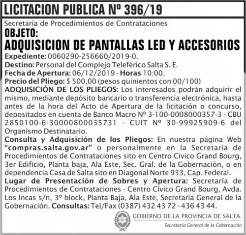 Licitación: Licitación Publica 396 SGG CTS