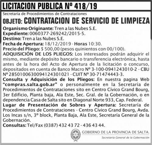 Licitación: Licitación Publica 418 SGG TN