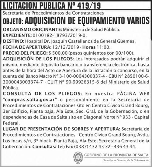Licitación: Licitación Publica 419 SGG MSP