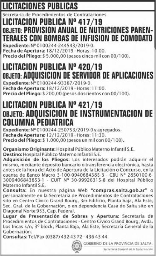 Licitación: Licitación Publica 417 420 421 SGG HPMI