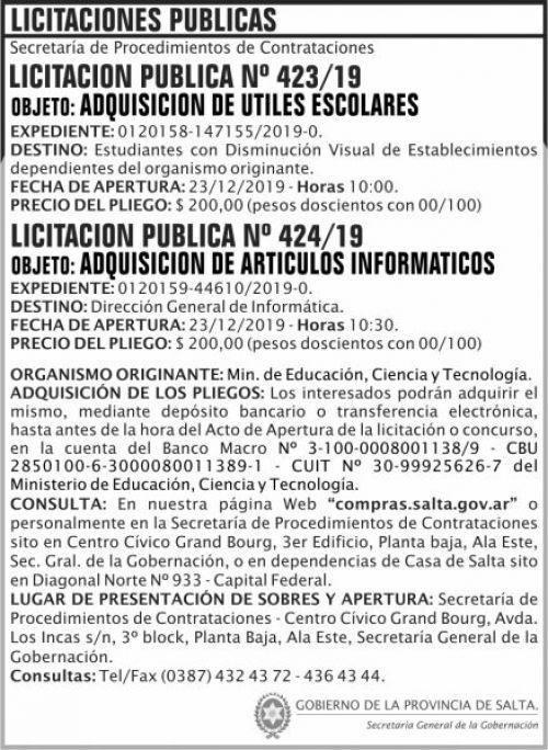 Licitación: Licitación Publica 423 424 SGG MECT