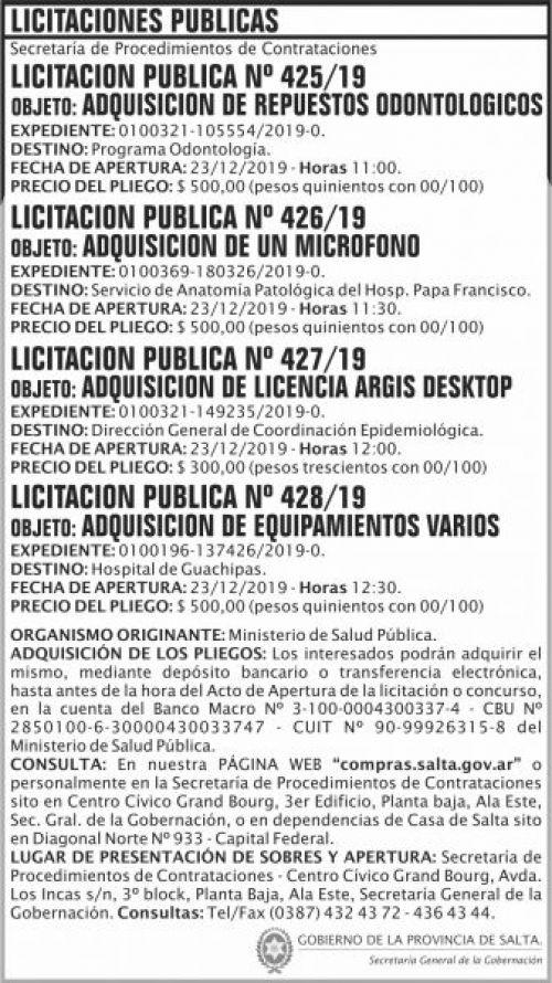 Licitación: Licitación Publica 425 426 427 428 SGG MSP
