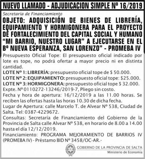 Licitación: NUEVO LLAMADO-ADJUDICACION SIMPLE Nº 16-2019