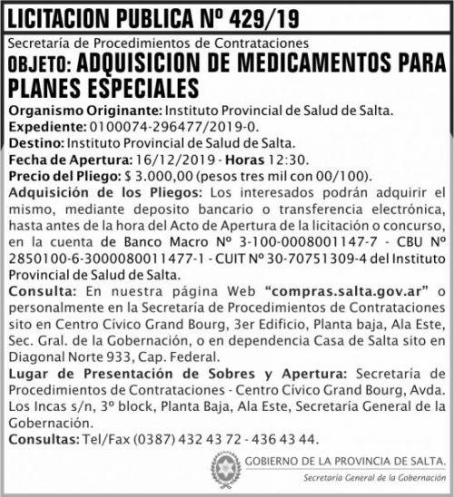 Licitación: Licitación Publica 429 SGG IPS