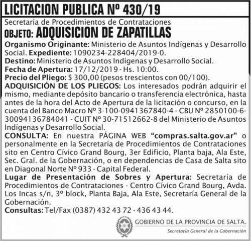Licitación: Licitación Publica 430 SGG MAIDS