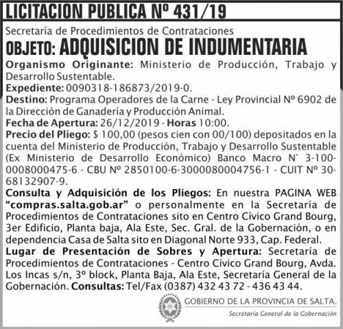 Licitación: Licitación Publica 431 SGG MPTDS