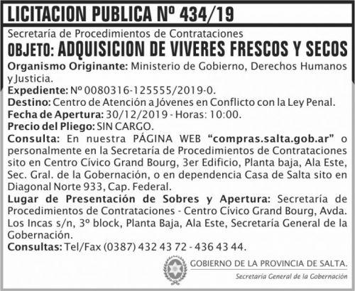 Licitación: Licitación Publica 434 SGG MGDHJ SP