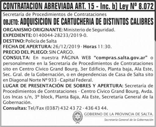 Contratación: CONTRATACION ABREVIADA ART 15 SGG MS