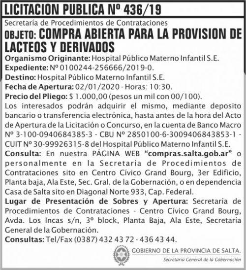 Licitación: Licitación Publica 436 SGG HPMI