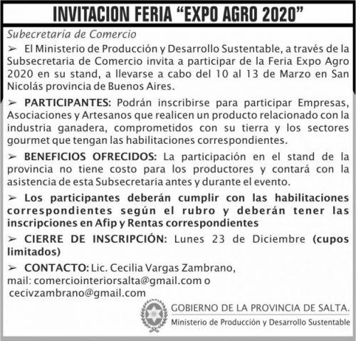 Edictos / Comunicados: Convocatoria FERIA Expo Agro 2020 MAPS