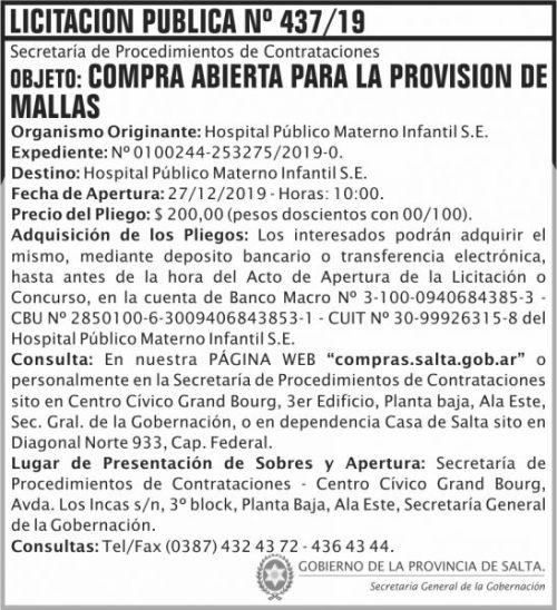 Licitación: Licitación Publica 437 SGG HPMI