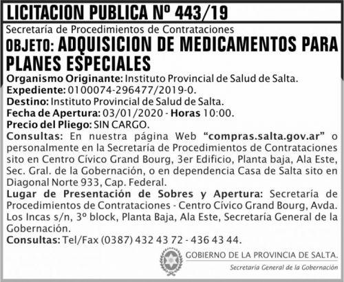 Licitación: Licitacion Publica 443 SGG IPS