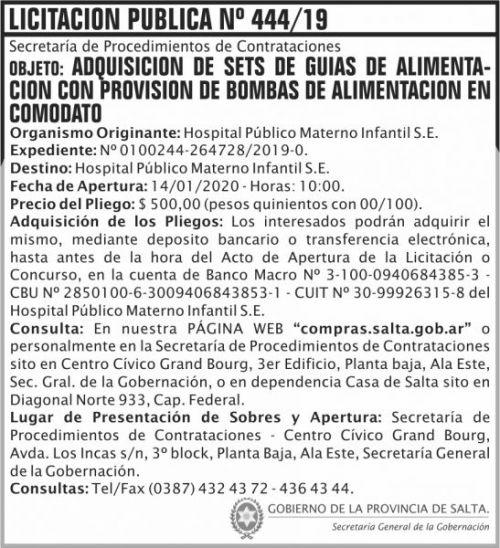Licitación: Licitacion Publica 444 SGG HPM