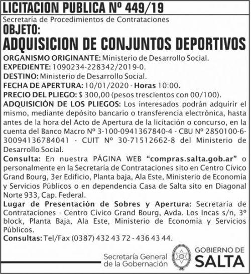Licitación: Licitacion Publica 449 SGG MDS